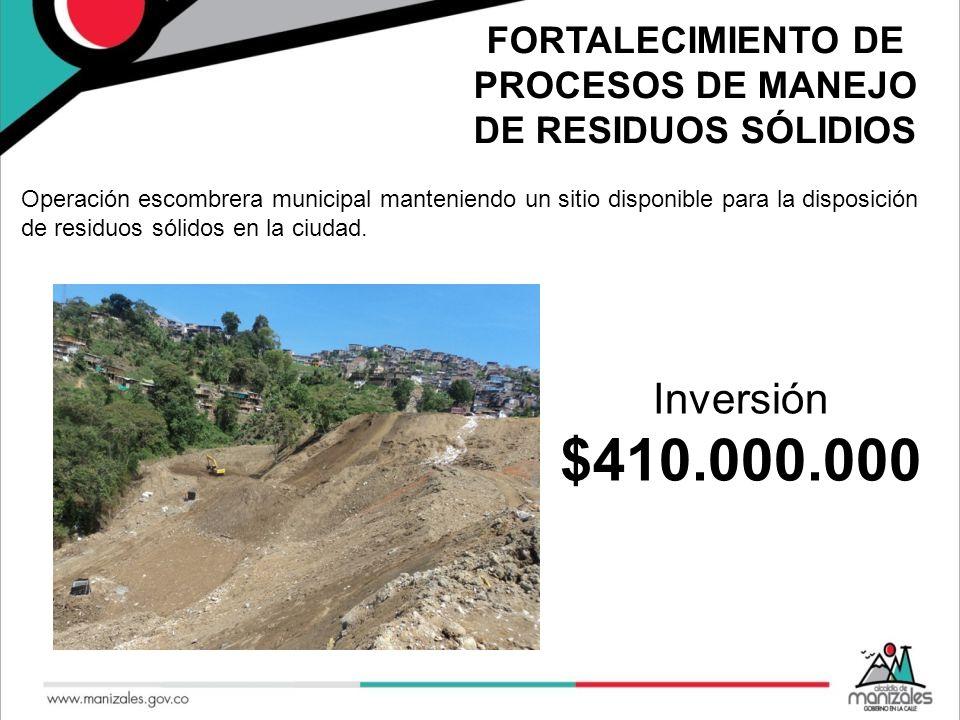 FORTALECIMIENTO DE PROCESOS DE MANEJO DE RESIDUOS SÓLIDIOS Operación escombrera municipal manteniendo un sitio disponible para la disposición de resid