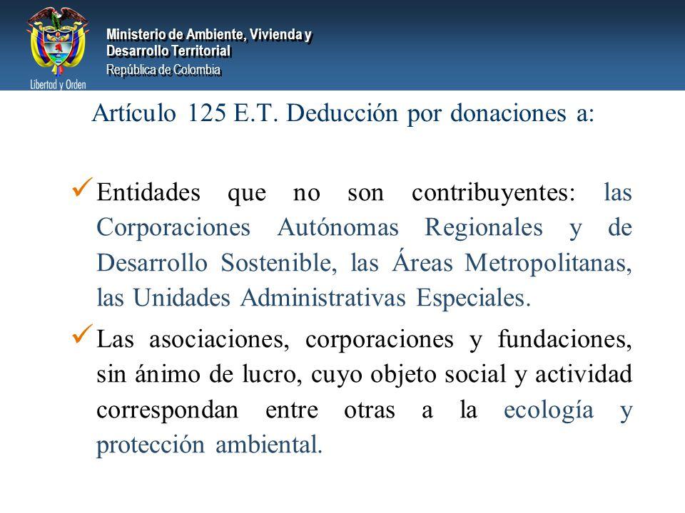 Ministerio de Ambiente, Vivienda y Desarrollo Territorial República de Colombia Ministerio de Ambiente, Vivienda y Desarrollo Territorial República de Colombia Artículo 125 E.T.
