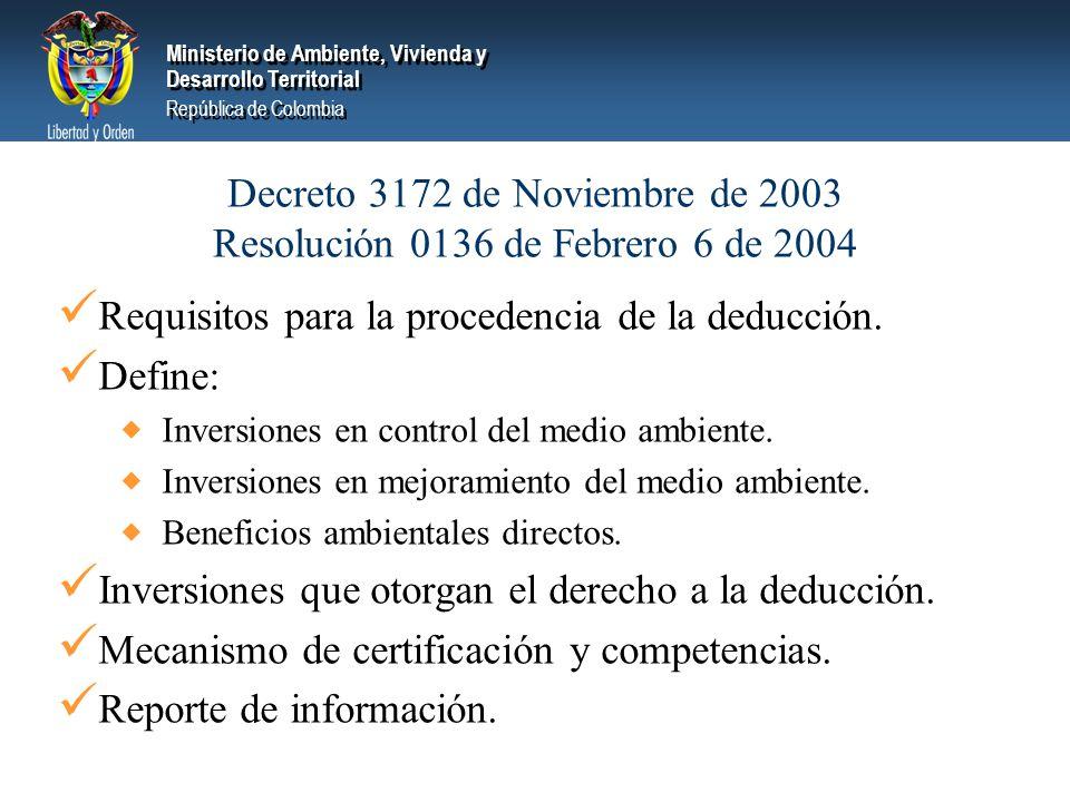 Ministerio de Ambiente, Vivienda y Desarrollo Territorial República de Colombia Ministerio de Ambiente, Vivienda y Desarrollo Territorial República de Colombia Decreto 3172 de Noviembre de 2003 Resolución 0136 de Febrero 6 de 2004 Requisitos para la procedencia de la deducción.