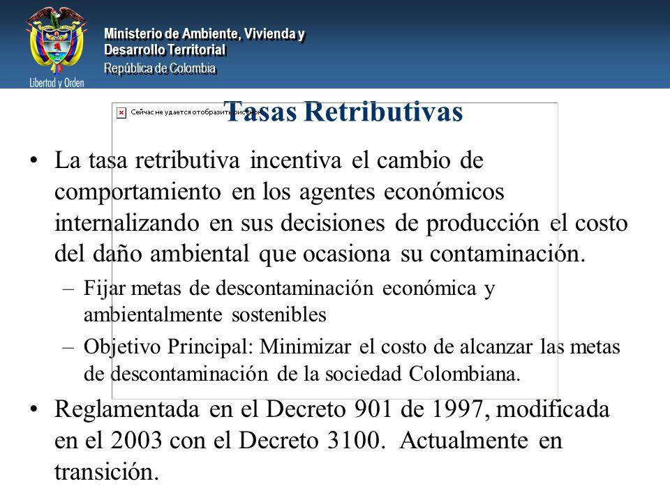 Ministerio de Ambiente, Vivienda y Desarrollo Territorial República de Colombia Ministerio de Ambiente, Vivienda y Desarrollo Territorial República de Colombia La tasa retributiva incentiva el cambio de comportamiento en los agentes económicos internalizando en sus decisiones de producción el costo del daño ambiental que ocasiona su contaminación.