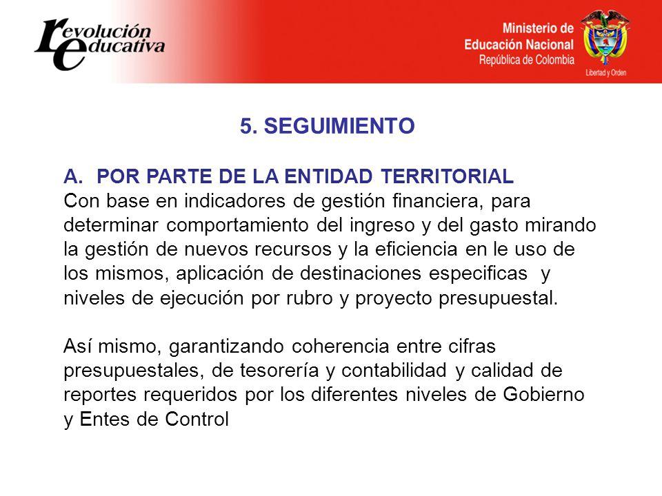 5. SEGUIMIENTO A.POR PARTE DE LA ENTIDAD TERRITORIAL Con base en indicadores de gestión financiera, para determinar comportamiento del ingreso y del g