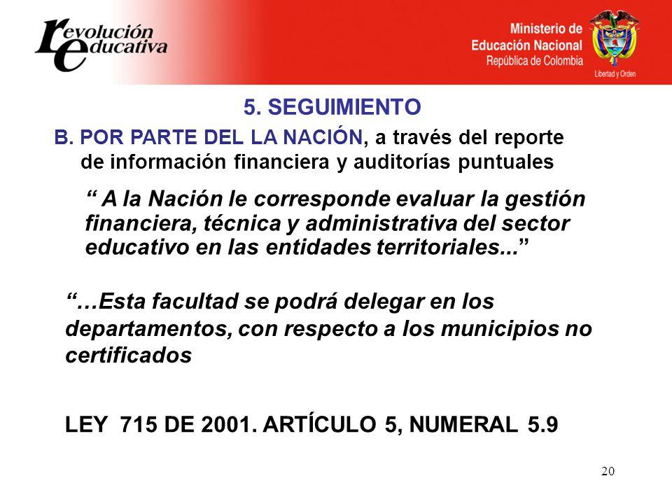 20 5. SEGUIMIENTO A la Nación le corresponde evaluar la gestión financiera, técnica y administrativa del sector educativo en las entidades territorial
