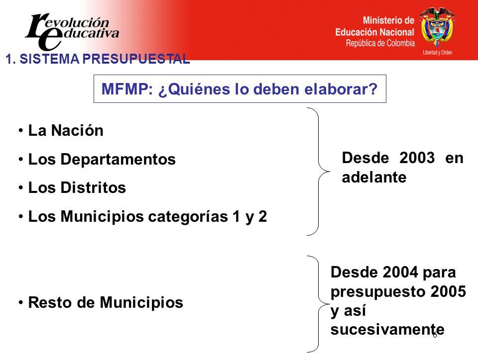 6 MFMP: ¿Quiénes lo deben elaborar? La Nación Los Departamentos Los Distritos Los Municipios categorías 1 y 2 Resto de Municipios Desde 2003 en adelan
