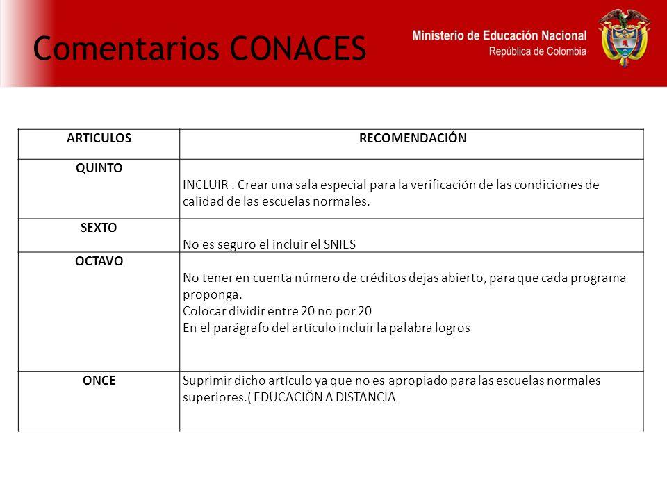 Comentarios CONACES ARTICULOS RECOMENDACIÓN QUINTO INCLUIR.