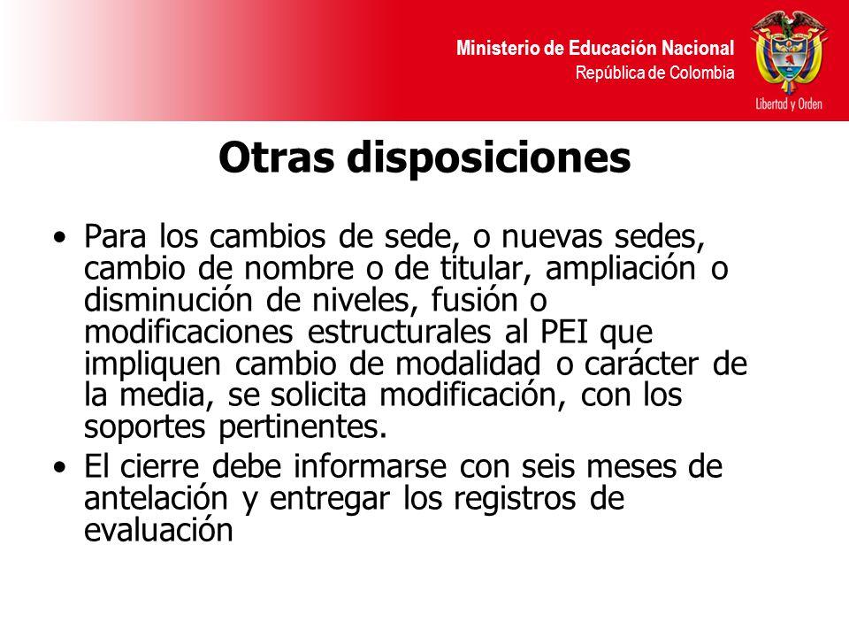 Ministerio de Educación Nacional República de Colombia Otras disposiciones Para los cambios de sede, o nuevas sedes, cambio de nombre o de titular, am
