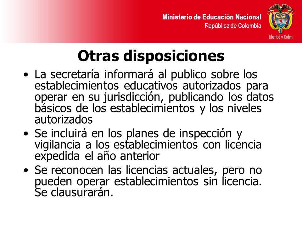 Ministerio de Educación Nacional República de Colombia Otras disposiciones La secretaría informará al publico sobre los establecimientos educativos au