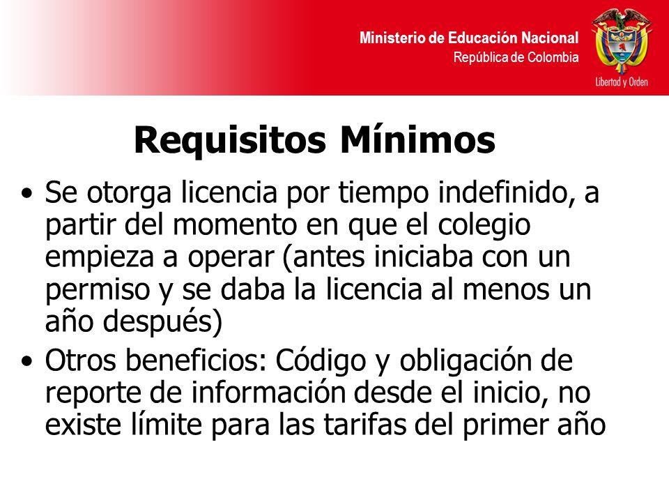 Ministerio de Educación Nacional República de Colombia Se otorga licencia por tiempo indefinido, a partir del momento en que el colegio empieza a oper