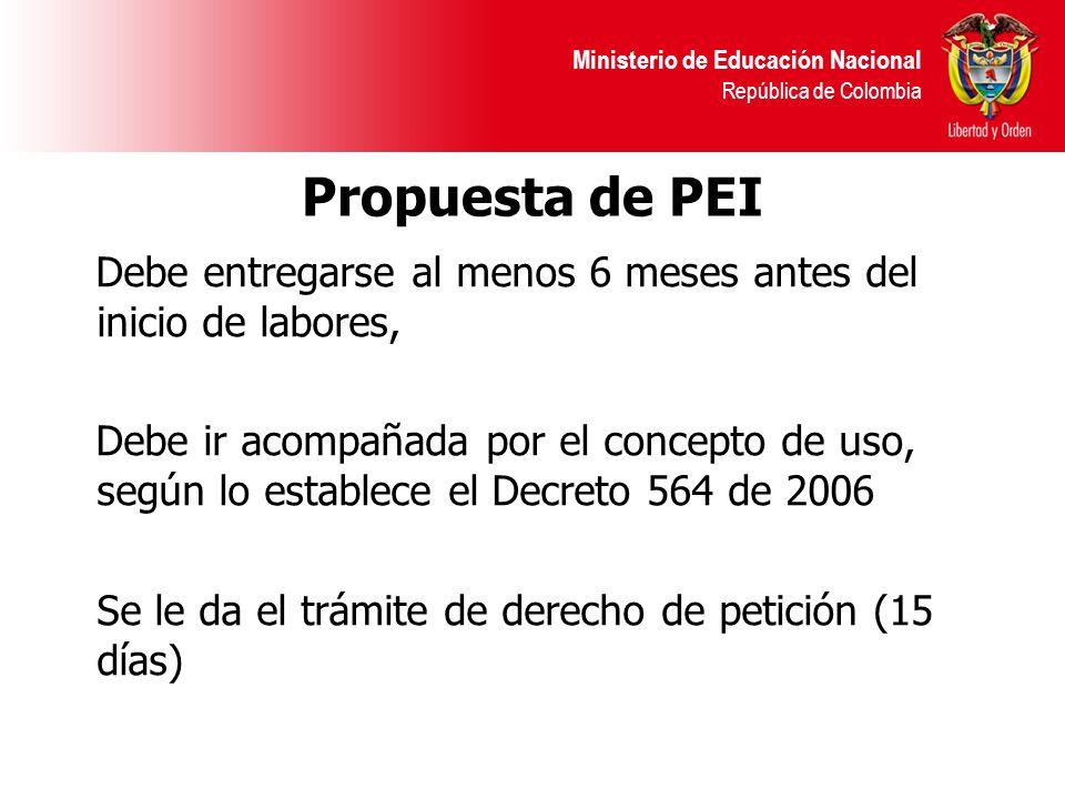 Ministerio de Educación Nacional República de Colombia Propuesta de PEI Debe entregarse al menos 6 meses antes del inicio de labores, Debe ir acompaña