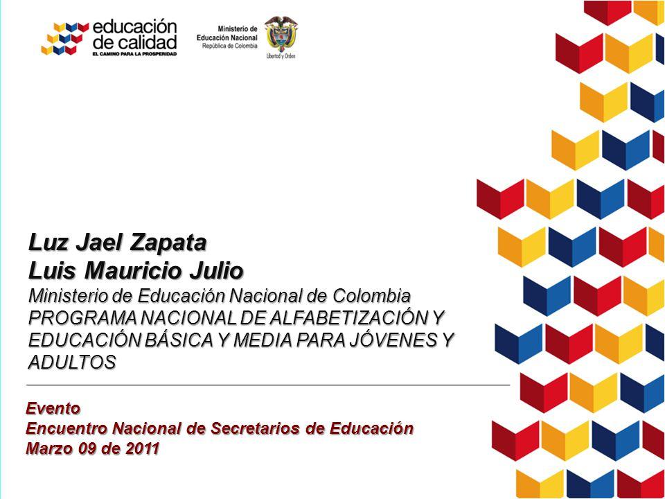 Luz Jael Zapata Luis Mauricio Julio Ministerio de Educación Nacional de Colombia PROGRAMA NACIONAL DE ALFABETIZACIÓN Y EDUCACIÓN BÁSICA Y MEDIA PARA J