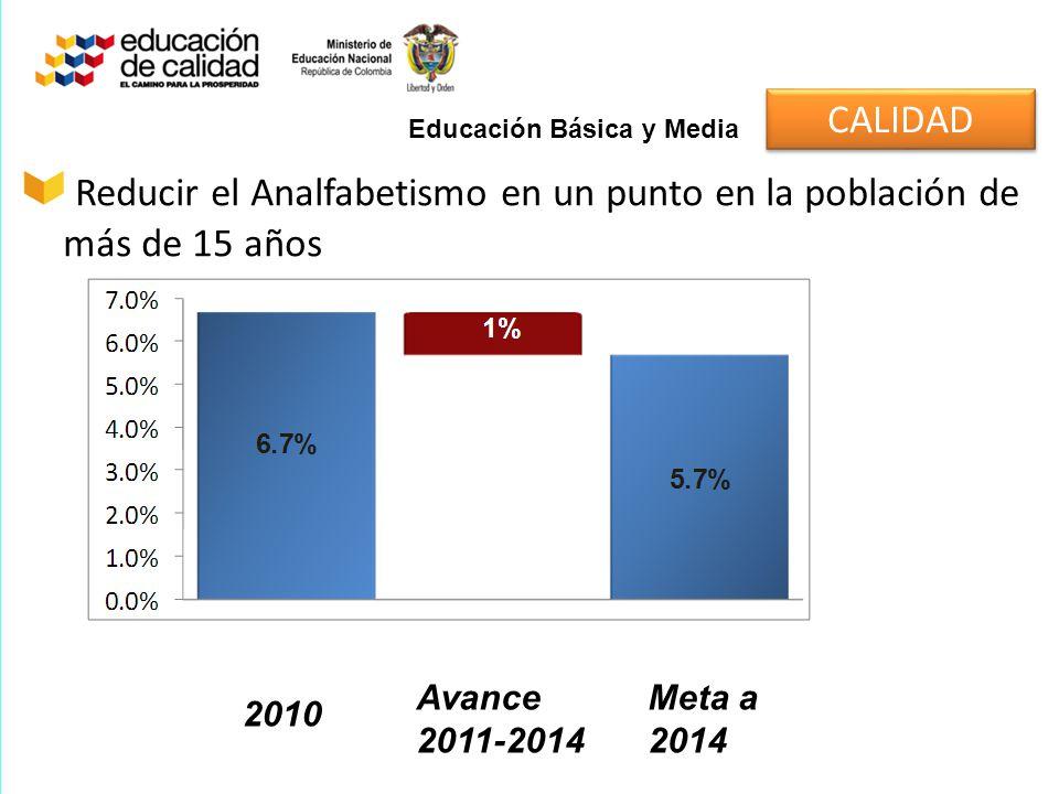 2.375.157 Es el número de personas iletradas mayores de 15 años en Colombia según el Censo 2005 (8,4% de la población) La meta: Alfabetizar 600.000 de personas entre 2011-2014 y reducir la tasa de analfabetismo al 5,7% Antecedentes del Programa