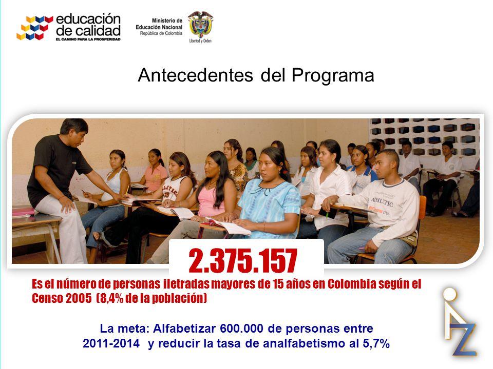 2.375.157 Es el número de personas iletradas mayores de 15 años en Colombia según el Censo 2005 (8,4% de la población) La meta: Alfabetizar 600.000 de
