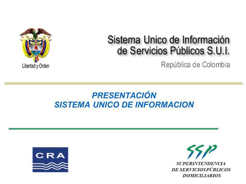 SUPERINTENDENCIA DE SERVICIOS PÚBLICOS DOMICILIARIOS PRESENTACIÓN SISTEMA UNICO DE INFORMACION