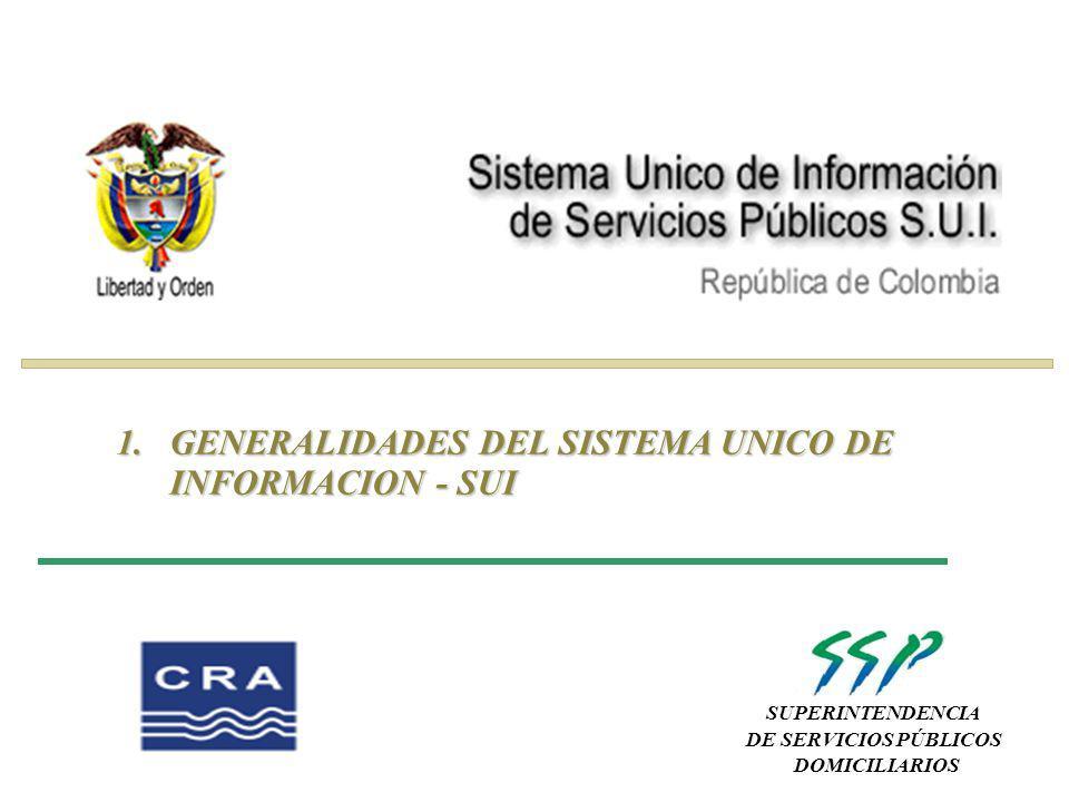 SUPERINTENDENCIA DE SERVICIOS PÚBLICOS DOMICILIARIOS 1.GENERALIDADES DEL SISTEMA UNICO DE INFORMACION - SUI