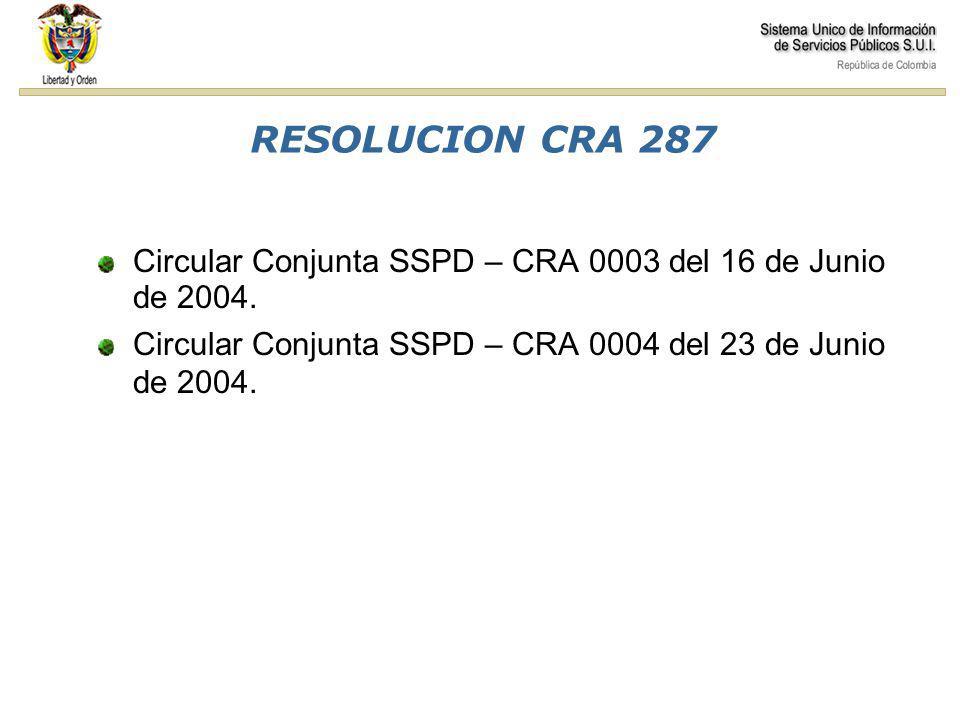 RESOLUCION CRA 287 Comisiones Circular Conjunta SSPD – CRA 0003 del 16 de Junio de 2004.