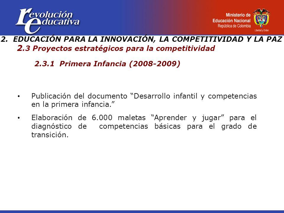 2.3.1 Primera Infancia (2008-2009) Publicación del documento Desarrollo infantil y competencias en la primera infancia.