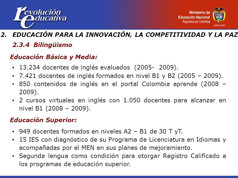 Educación Básica y Media: 13.234 docentes de inglés evaluados (2005- 2009).