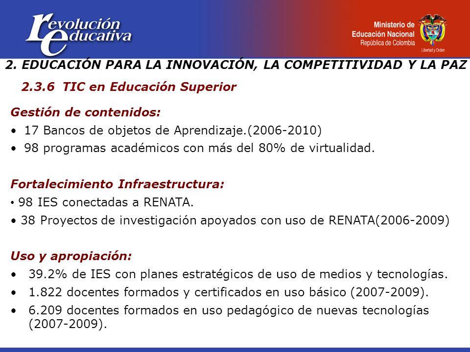 Gestión de contenidos: 17 Bancos de objetos de Aprendizaje.(2006-2010) 98 programas académicos con más del 80% de virtualidad.