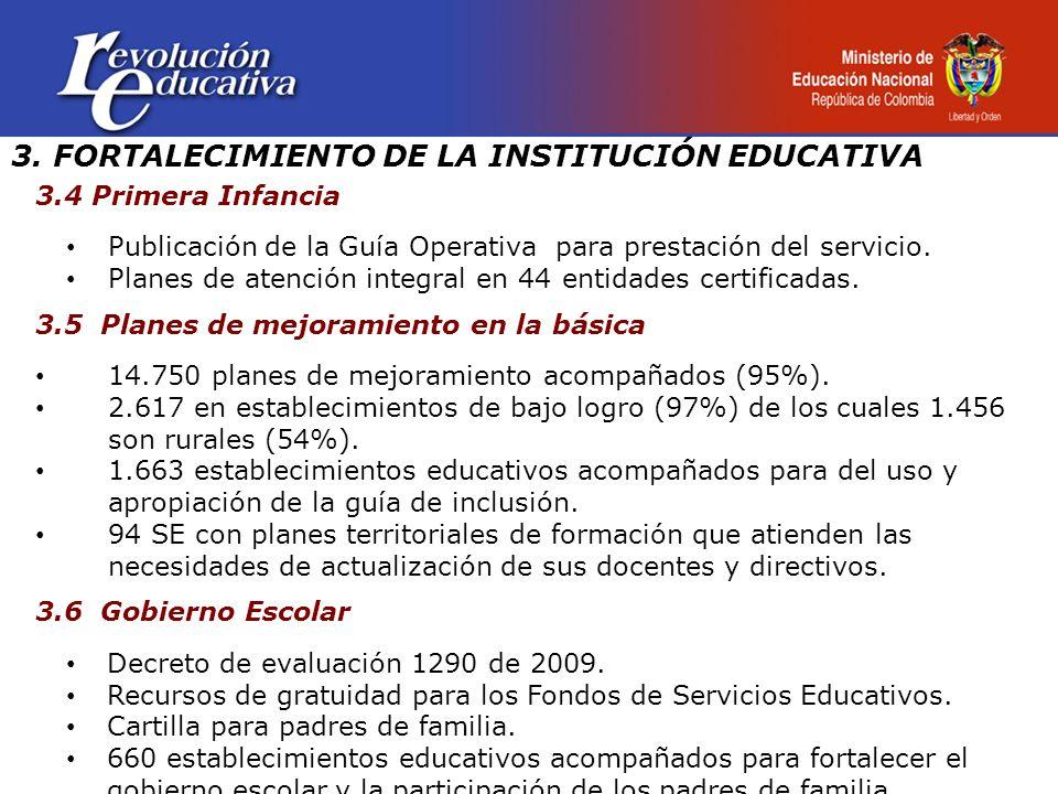 3. FORTALECIMIENTO DE LA INSTITUCIÓN EDUCATIVA 3.4 Primera Infancia Publicación de la Guía Operativa para prestación del servicio. Planes de atención