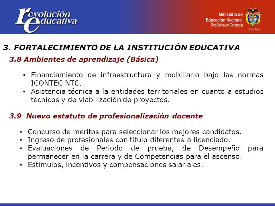 3. FORTALECIMIENTO DE LA INSTITUCIÓN EDUCATIVA 3.8 Ambientes de aprendizaje (Básica) Financiamiento de infraestructura y mobiliario bajo las normas IC