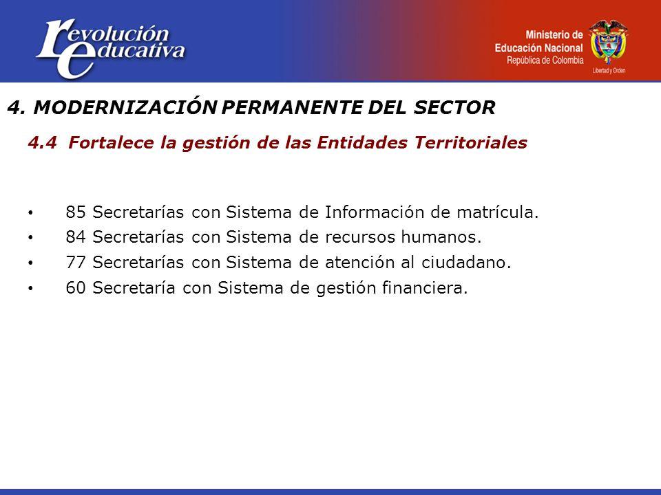 4. MODERNIZACIÓN PERMANENTE DEL SECTOR 4.4 Fortalece la gestión de las Entidades Territoriales 85 Secretarías con Sistema de Información de matrícula.