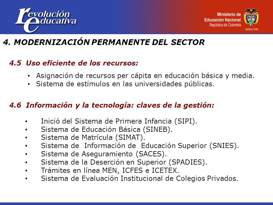 4. MODERNIZACIÓN PERMANENTE DEL SECTOR 4.5 Uso eficiente de los recursos: Asignación de recursos per cápita en educación básica y media. Sistema de es