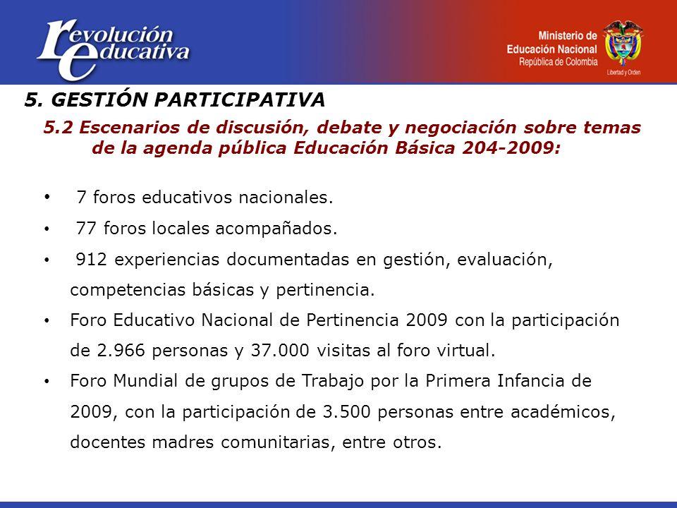 5. GESTIÓN PARTICIPATIVA 5.2 Escenarios de discusión, debate y negociación sobre temas de la agenda pública Educación Básica 204-2009: 7 foros educati