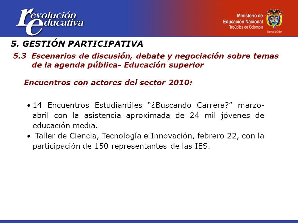 5. GESTIÓN PARTICIPATIVA 5.3 Escenarios de discusión, debate y negociación sobre temas de la agenda pública- Educación superior Encuentros con actores