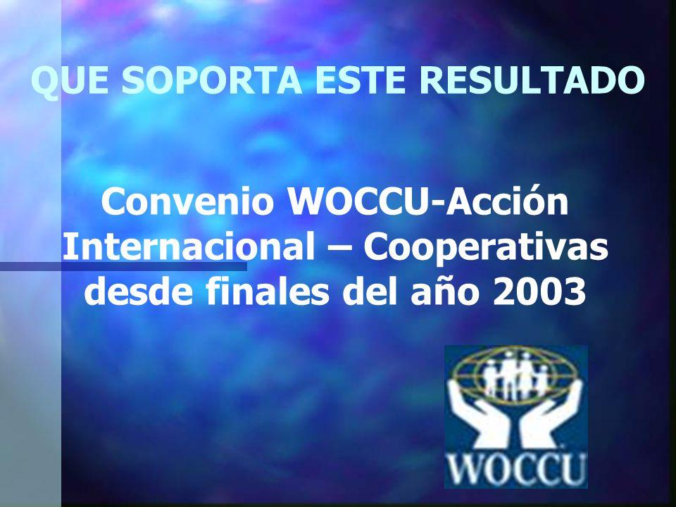 QUE SOPORTA ESTE RESULTADO Convenio WOCCU-Acción Internacional – Cooperativas desde finales del año 2003