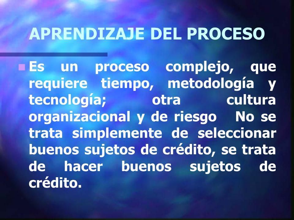 APRENDIZAJE DEL PROCESO Es un proceso complejo, que requiere tiempo, metodología y tecnología; otra cultura organizacional y de riesgo No se trata simplemente de seleccionar buenos sujetos de crédito, se trata de hacer buenos sujetos de crédito.