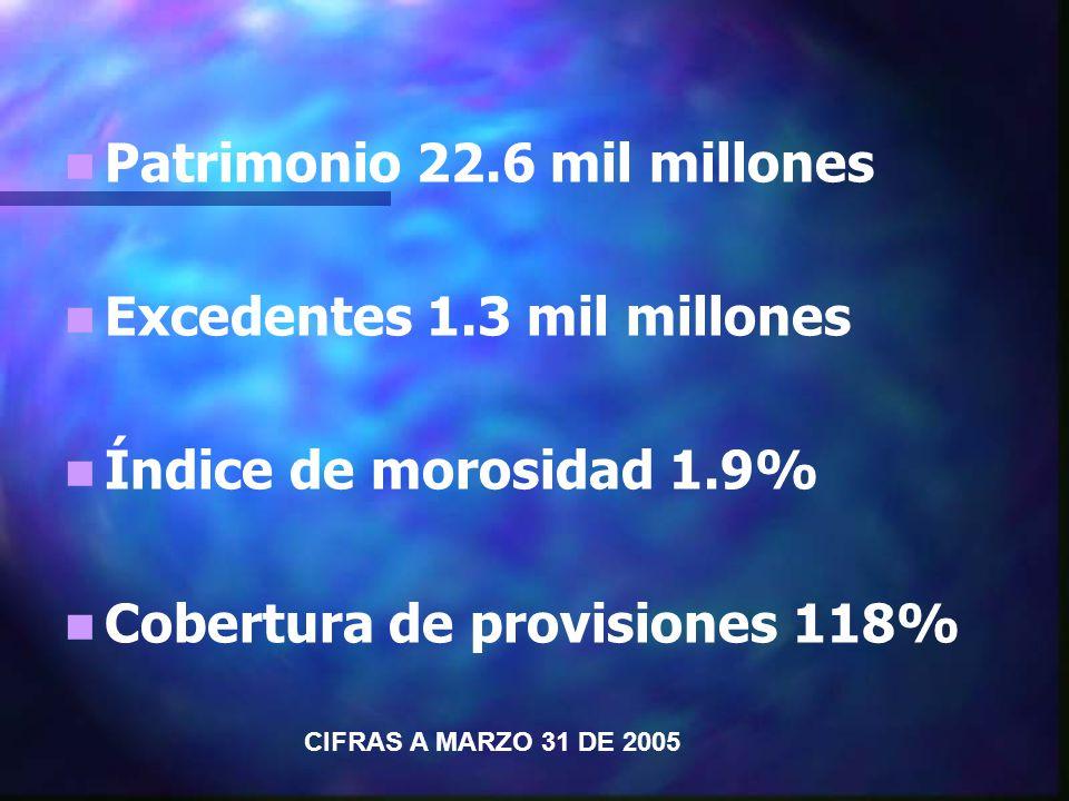 Patrimonio 22.6 mil millones Excedentes 1.3 mil millones Índice de morosidad 1.9% Cobertura de provisiones 118% CIFRAS A MARZO 31 DE 2005