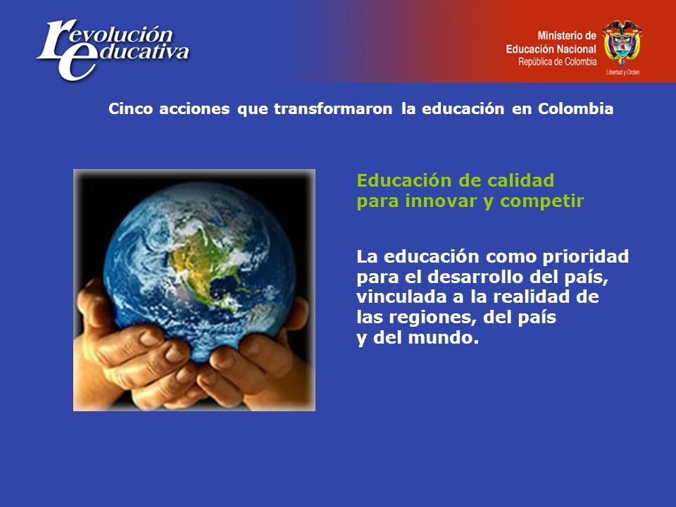 Cinco acciones que transformaron la educación en Colombia Educación de calidad para innovar y competir La educación como prioridad para el desarrollo del país, vinculada a la realidad de las regiones, del país y del mundo.