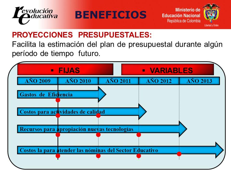 PROYECCIONES PRESUPUESTALES: Facilita la estimación del plan de presupuestal durante algún período de tiempo futuro. FIJAS VARIABLES AÑO 2009AÑO 2010A