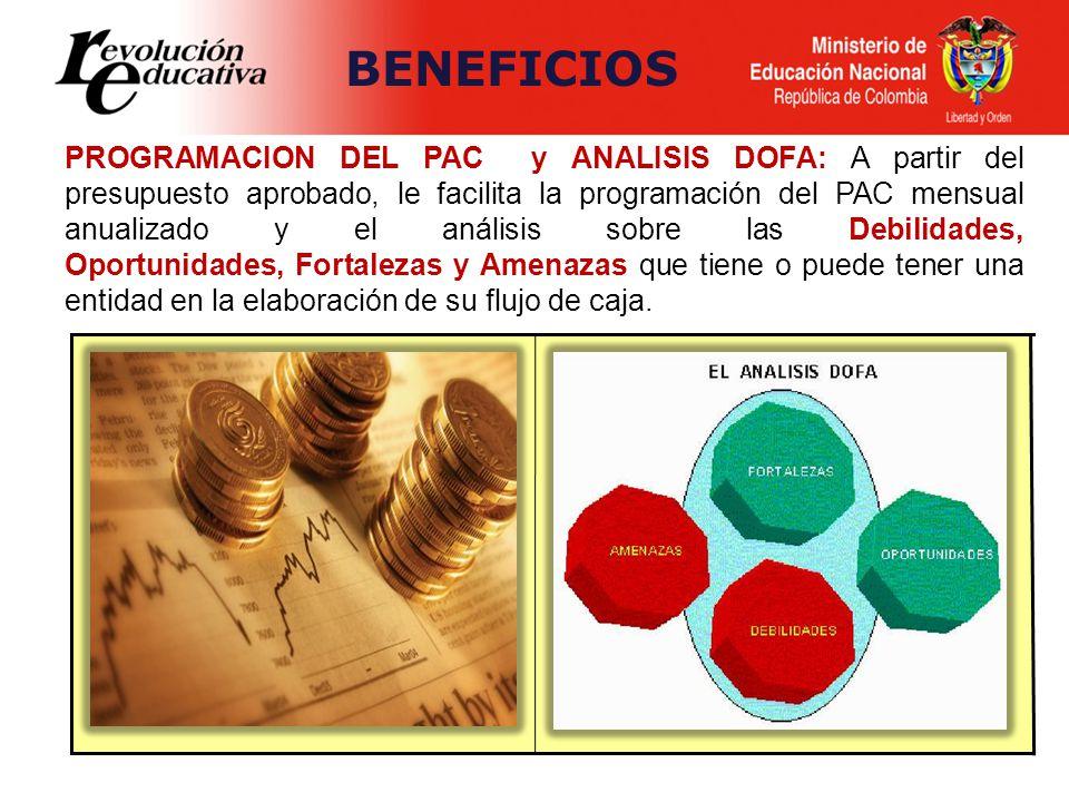 PROGRAMACION DEL PAC y ANALISIS DOFA: A partir del presupuesto aprobado, le facilita la programación del PAC mensual anualizado y el análisis sobre la