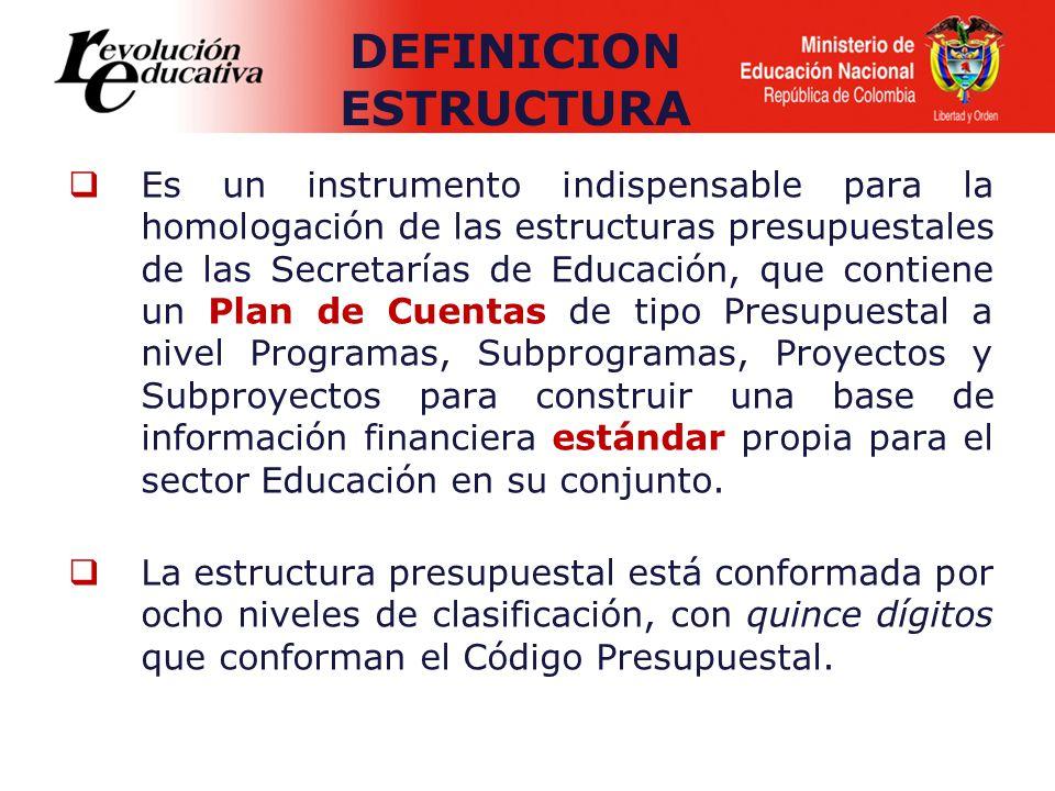 Es un instrumento indispensable para la homologación de las estructuras presupuestales de las Secretarías de Educación, que contiene un Plan de Cuentas de tipo Presupuestal a nivel Programas, Subprogramas, Proyectos y Subproyectos para construir una base de información financiera estándar propia para el sector Educación en su conjunto.