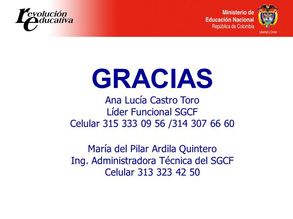 GRACIAS Ana Lucía Castro Toro Líder Funcional SGCF Celular 315 333 09 56 /314 307 66 60 María del Pilar Ardila Quintero Ing. Administradora Técnica de