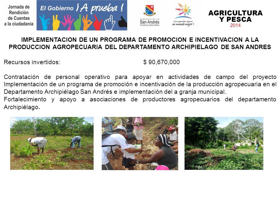 AGRICULTURA Y PESCA 2014 IMPLEMENTACION DE UN PROGRAMA DE PROMOCION E INCENTIVACION A LA PRODUCCION AGROPECUARIA DEL DEPARTAMENTO ARCHIPIELAGO DE SAN
