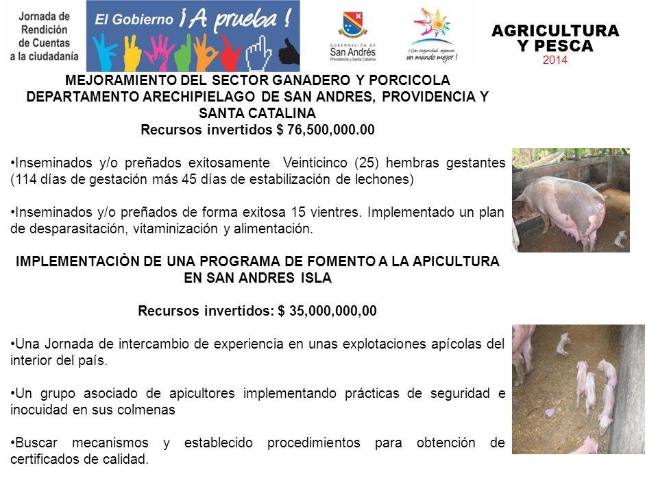 AGRICULTURA Y PESCA 2014 MEJORAMIENTO DEL SECTOR GANADERO Y PORCICOLA DEPARTAMENTO ARECHIPIELAGO DE SAN ANDRES, PROVIDENCIA Y SANTA CATALINA Recursos