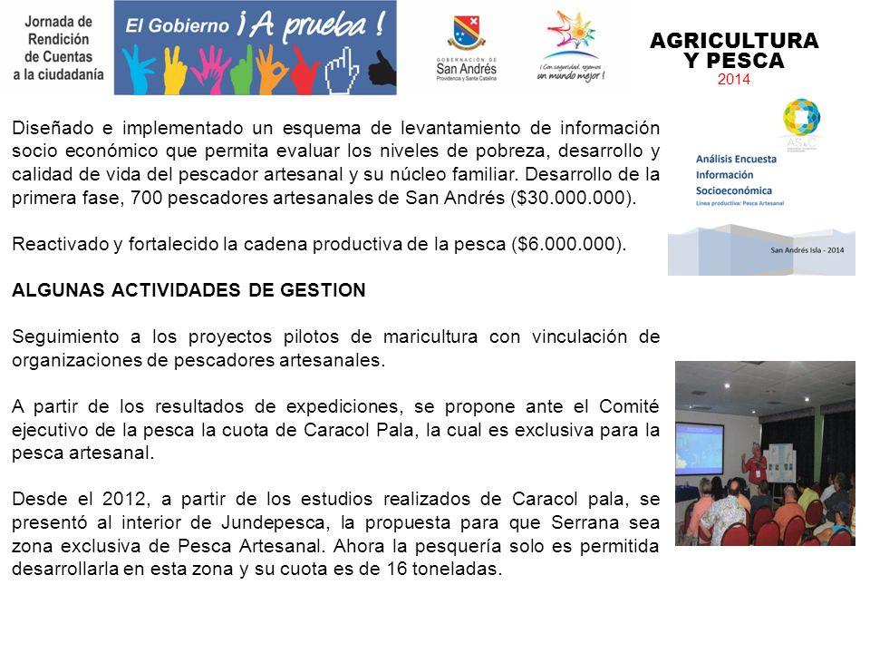 AGRICULTURA Y PESCA 2014 Diseñado e implementado un esquema de levantamiento de información socio económico que permita evaluar los niveles de pobreza