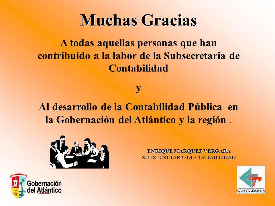 Muchas Gracias A todas aquellas personas que han contribuido a la labor de la Subsecretaria de Contabilidad y Al desarrollo de la Contabilidad Pública en la Gobernación del Atlántico y la región.