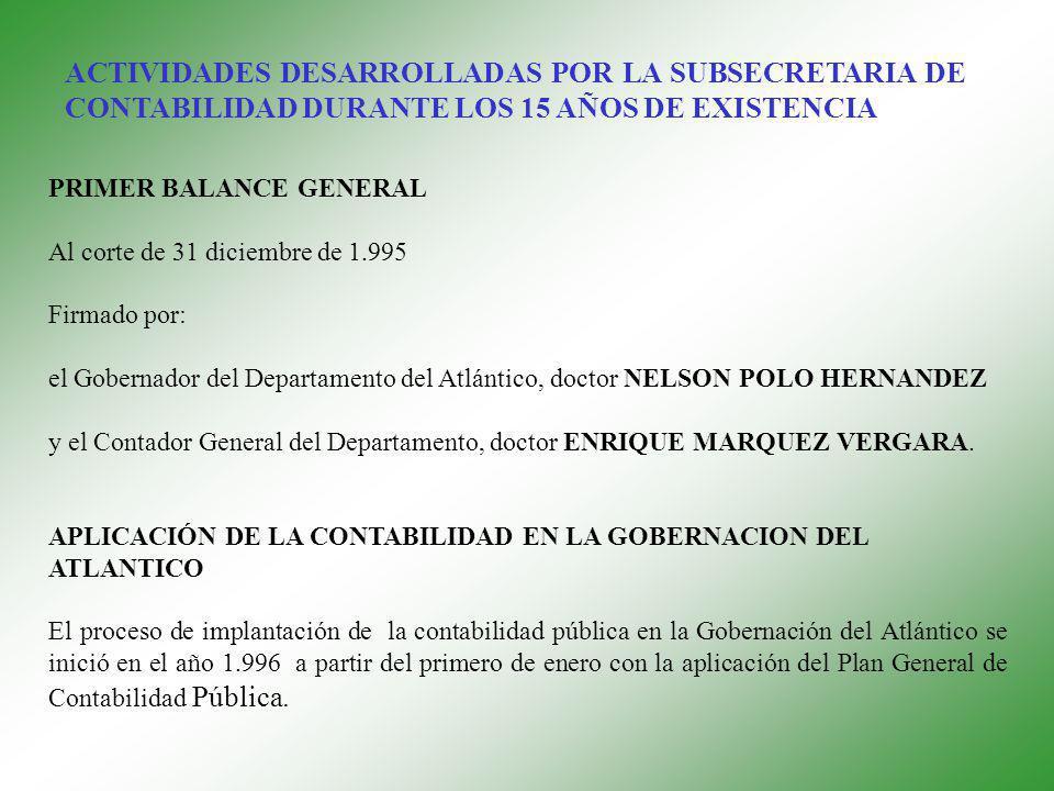 PRIMER BALANCE GENERAL Al corte de 31 diciembre de 1.995 Firmado por: el Gobernador del Departamento del Atlántico, doctor NELSON POLO HERNANDEZ y el Contador General del Departamento, doctor ENRIQUE MARQUEZ VERGARA.