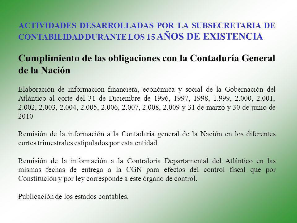 Cumplimiento de las obligaciones con la Contaduría General de la Nación Elaboración de información financiera, económica y social de la Gobernación del Atlántico al corte del 31 de Diciembre de 1996, 1997, 1998, 1.999, 2.000, 2.001, 2.002, 2.003, 2.004, 2.005, 2.006, 2.007, 2.008, 2.009 y 31 de marzo y 30 de junio de 2010 Remisión de la información a la Contaduría general de la Nación en los diferentes cortes trimestrales estipulados por esta entidad.