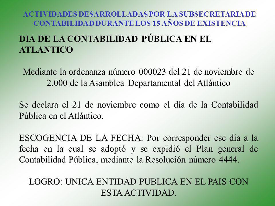 DIA DE LA CONTABILIDAD PÚBLICA EN EL ATLANTICO Mediante la ordenanza número 000023 del 21 de noviembre de 2.000 de la Asamblea Departamental del Atlántico Se declara el 21 de noviembre como el día de la Contabilidad Pública en el Atlántico.