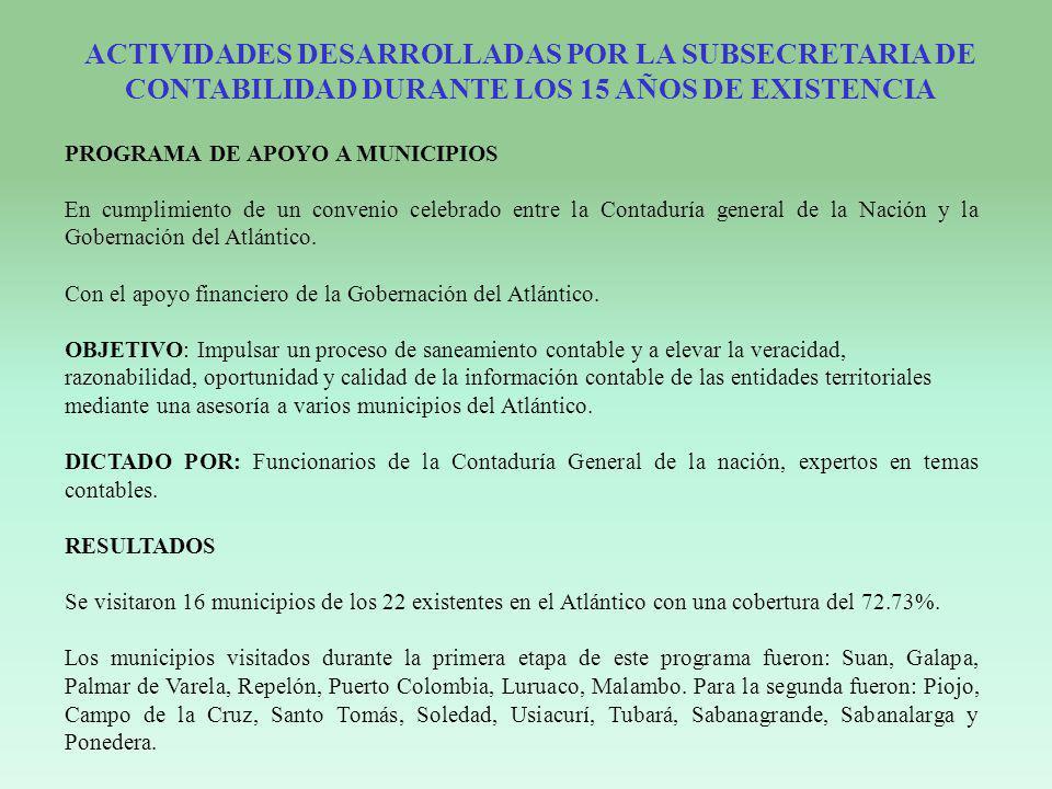 PROGRAMA DE APOYO A MUNICIPIOS En cumplimiento de un convenio celebrado entre la Contaduría general de la Nación y la Gobernación del Atlántico. Con e