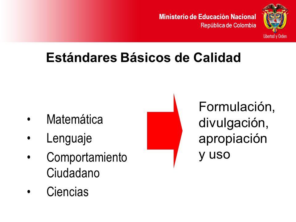 Ministerio de Educación Nacional República de Colombia Matemática Lenguaje Comportamiento Ciudadano Ciencias Formulación, divulgación, apropiación y uso Estándares Básicos de Calidad