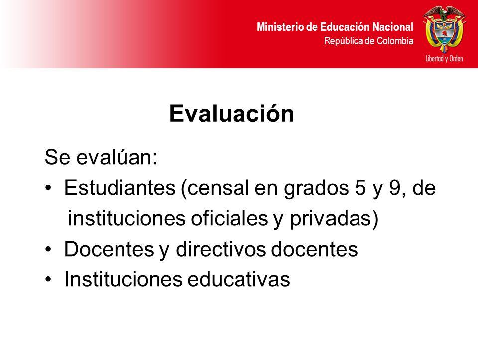 Ministerio de Educación Nacional República de Colombia Evaluación Se evalúan: Estudiantes (censal en grados 5 y 9, de instituciones oficiales y privadas) Docentes y directivos docentes Instituciones educativas
