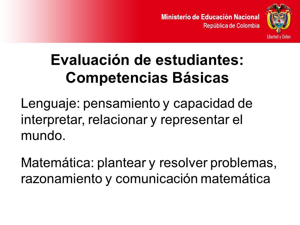 Ministerio de Educación Nacional República de Colombia Lenguaje: pensamiento y capacidad de interpretar, relacionar y representar el mundo. Matemática