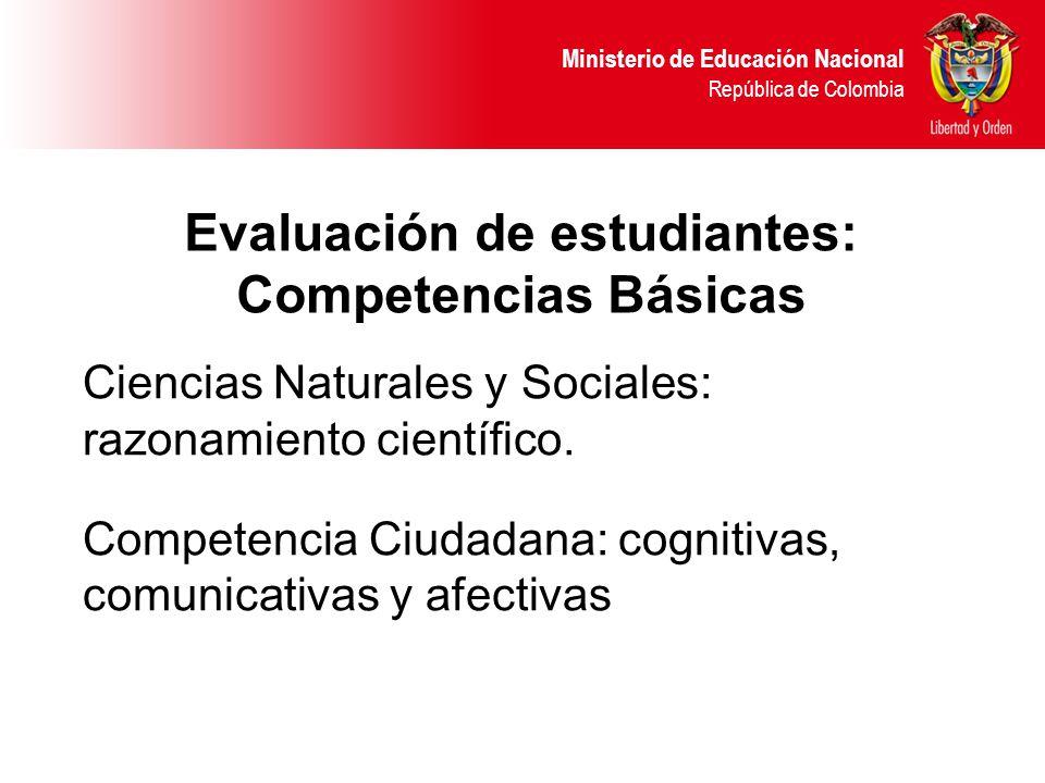 Ministerio de Educación Nacional República de Colombia Ciencias Naturales y Sociales: razonamiento científico.
