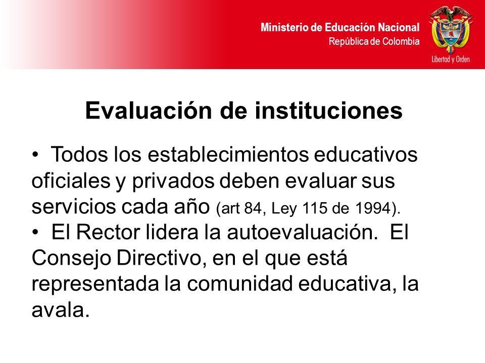 Ministerio de Educación Nacional República de Colombia Todos los establecimientos educativos oficiales y privados deben evaluar sus servicios cada año (art 84, Ley 115 de 1994).