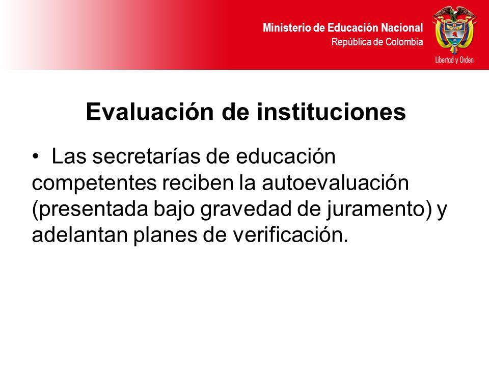 Ministerio de Educación Nacional República de Colombia Las secretarías de educación competentes reciben la autoevaluación (presentada bajo gravedad de juramento) y adelantan planes de verificación.