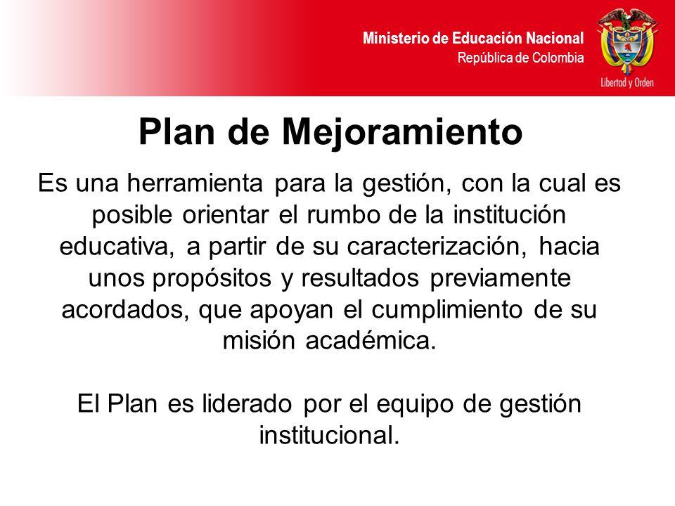 Ministerio de Educación Nacional República de Colombia Es una herramienta para la gestión, con la cual es posible orientar el rumbo de la institución